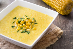 Sopa-creme de milho com palmito